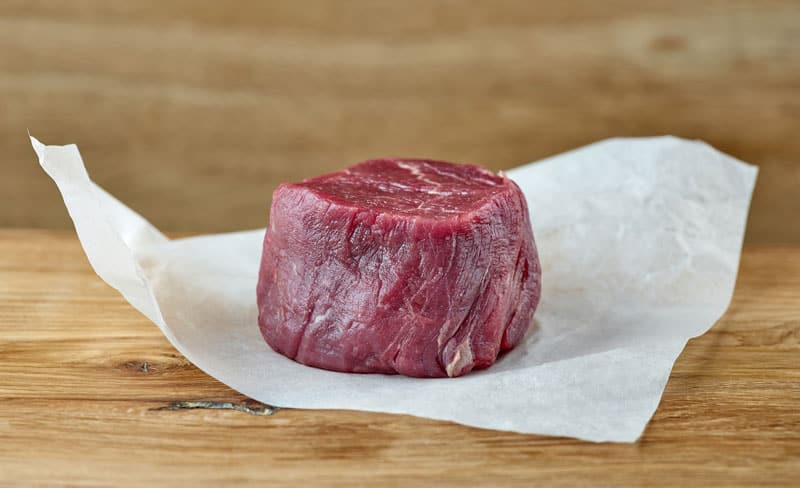 Raw organic filet mignon steak