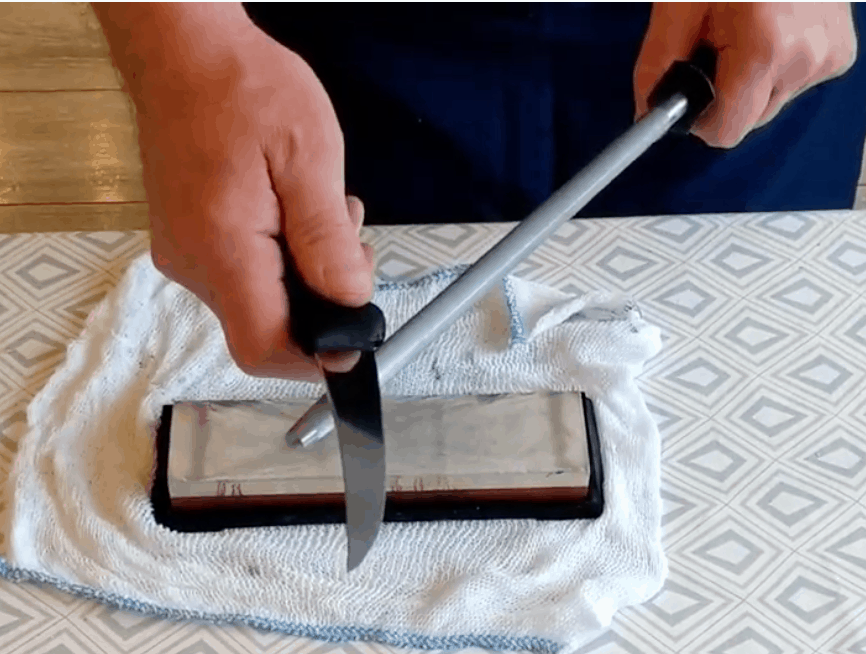 honing knife on a steel